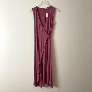 🆕GAP Rose Pink Tie Wrap Midi Dress